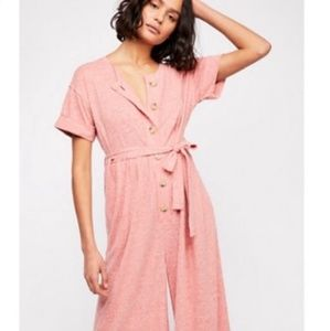 Free People Beach Lighthouse S/P Coral Jumpsuit